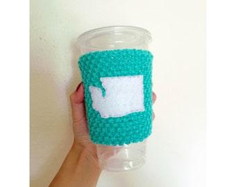 Knitted Coffee Cozy // Washington State // Venti Coffee // Eco-Friendly // Coffee Sleeve