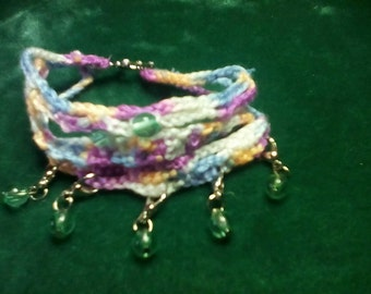 Crocheted Stacked Beaded Bracelet.