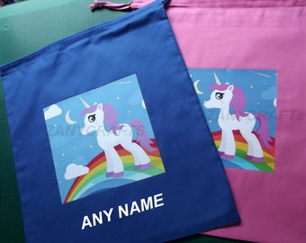 PERSONALISED Girls Unicorn PE, Pump, Gym, School, Nursery School Drawstring Cotton Bag