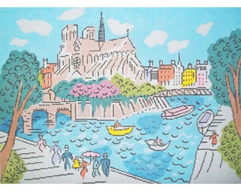 """NOTRE DAME de PARIS Hand Painted Needlepoint Canvas by Sally Corey Designs, 15""""X20.5"""" on 13-mesh, also available on 18, free s&h to the U.S."""