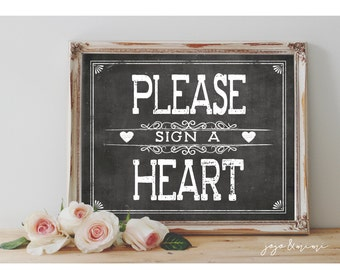 Instant 'Please sign a Heart' Printable 8x10 and 11x14 Event Sign Wedding Party Printable Chalkboard Sign