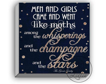 the great gatsby print, great gatsby quotes, on canvas, wall art, whisperings and the champagne and the stars, canvas art print