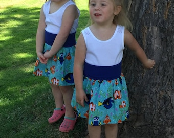 Finding Dory skirt, Dory yoga waistband skirt, Girls skirt, Summer skirt, made to order 12 month, 18 month, 2t, 3t, 4t, 5t