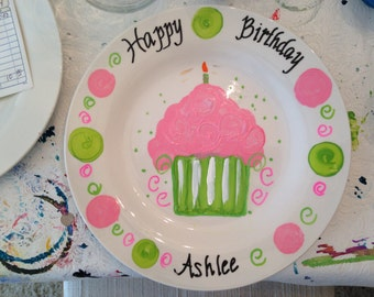Personalized Hand Painted Ceramic Birthday Plates