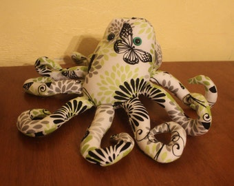 Green and black butterfly stuffed octopus/plushie