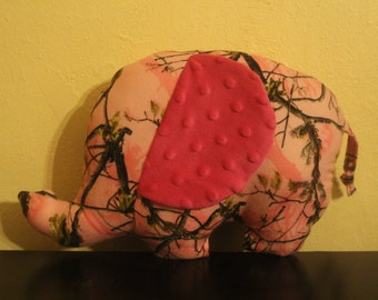 Pink camo flannel stuffed elepahant with pink minky ears/nursery decor
