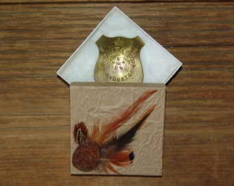 Vintage collectible solid brass replica badge pin and gift box collection