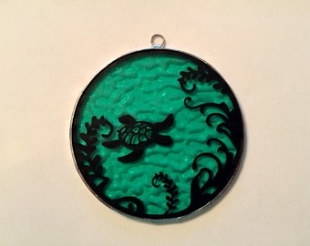 Handmade Stained Glass Sea Turtle Scene Suncatcher