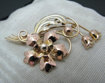 Vintage Tri-Color Flower Brooch in 10k Yellow, Rose, & Green Gold