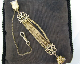 Vintage Pocket Watch Chain and (5) Chain Fob with Oval Filigree Charm