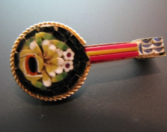 Beautiful Vintage Italian Micro Mosaic Banjo Brooch