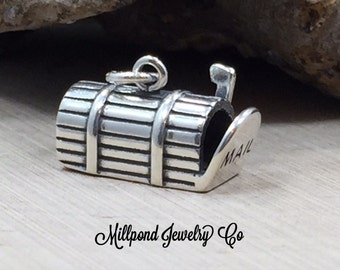 Mailbox Charm, Mail Charm, Mailbox Pendant, Letter Charm, Sterling Silver Charm