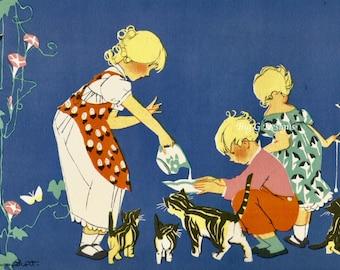 Vintage children's book illustration Janet Laura Scott children feeding cats kittens digital download printable clip art