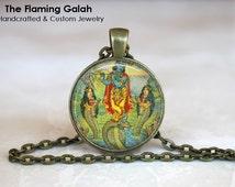 INDIAN GOD Pendant. Vintage Indian Art. Hindu/Sikh Religious Jewelry. Keyring/Pendant/Necklace. Gift Under 20. Handmade in Australia (P0628)