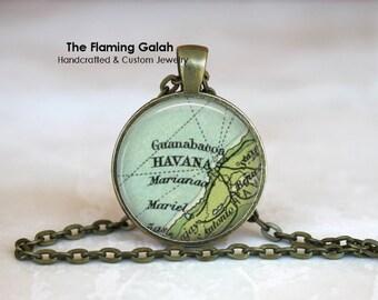 HAVANA Map Pendant •Vintage Havana Map • Old Havana Map • Vintage Cuban Map • Carribean Island • Gift Under 20 • Made in Australia (P0491)