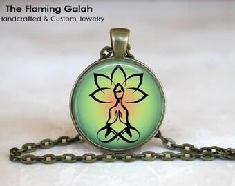 LOTUS POSITION Pendant •  Green Lotus Flower •  Yoga Gift •  Hindu Flower •  Yoga Jewellery • Gift Under 20 • Made in Australia (P0373)