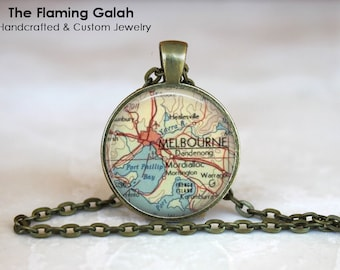 Vintage MELBOURNE Map Pendant. Australia. Key Ring. Map Necklace. Silver/Bronze Pendant. Gift Under 20. Handmade in Australia (P1174)