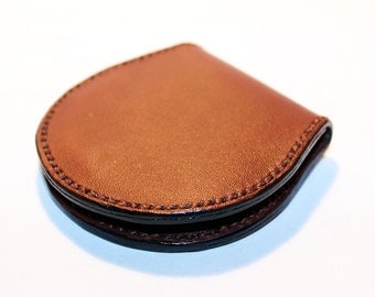 Leather coin wallet, brownm coin wallet, great leather item, brown men's wallet, small coin wallet, gift for men, gift for women.