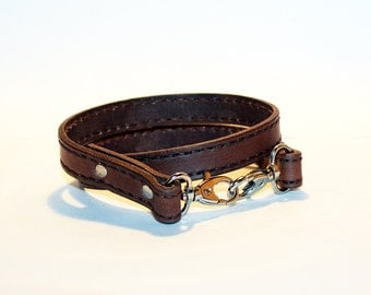 Leather lanyard, hand cut, hand stitched, Keychain, Key Holder, Leather Keychain, Leather Id Badge Lanyard. Brown Lanyard.