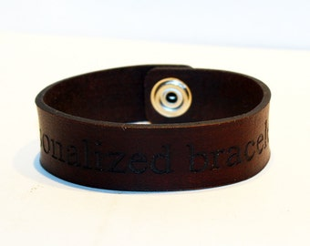 Personalized leather bracelet. Custom leather cuff. Brown leather cuff bracelet. Great gift for women. Great gift for men.