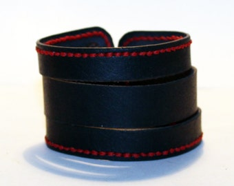 Black Leather Cuff Bracelet! Nice gift for women! Made in Latvia! Unique item! Best gift! Handmade leather cuff! Best quality!
