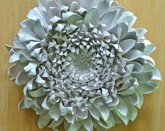 Ceramic chrysanthemum wall piece