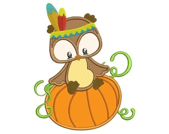 Owl On Pumpkin Applique Machine Embroidery Digitized Design Pattern - instant download - 4x4 , 5x7, and 6x10 -hoops