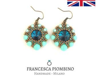 DIY ENG - Pdf beading pattern of earrings Diana - Beaded earrings with 14mm rivolis, 4,6,8mm pearls and seedbeads.