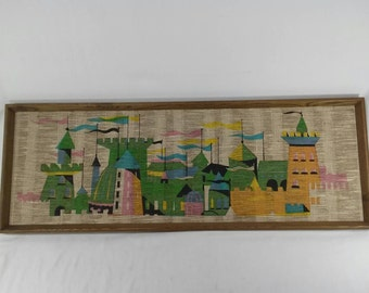 Vintage mid century screen printed rainbow castle wall hanging picture on burlap twine psychedelic