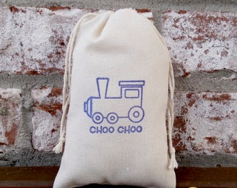Train Choo Choo Hand Stamped Cotton Muslin 4x6 Favor Bag - Great for Kid's Birthday Parties or Baby Showers