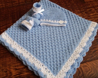 Knit/Crochet PersonalizedcBaby Boy Blanket, Hat and Booties (36x36, blue and white, acrylic)