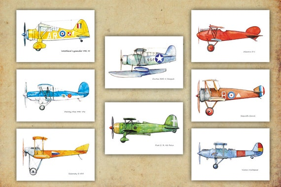 Airplane decor boy 39 s nursery vintage airplane prints Vintage airplane decor for nursery