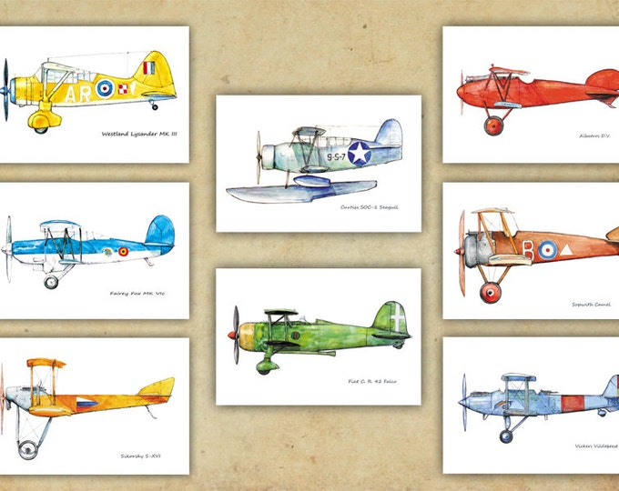 Airplane decor Boy's nursery Vintage airplane prints warercolor Set 8 prints Retro prop aircraft poster Aviation wall art Gift for pilots