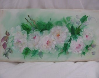 White & Pink Roses Oil Painting