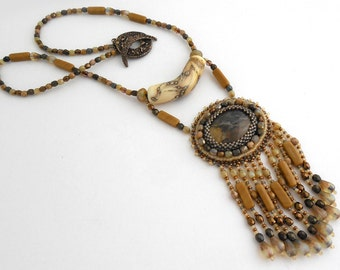 Bead Embroidered Necklace by Cathy Helmers