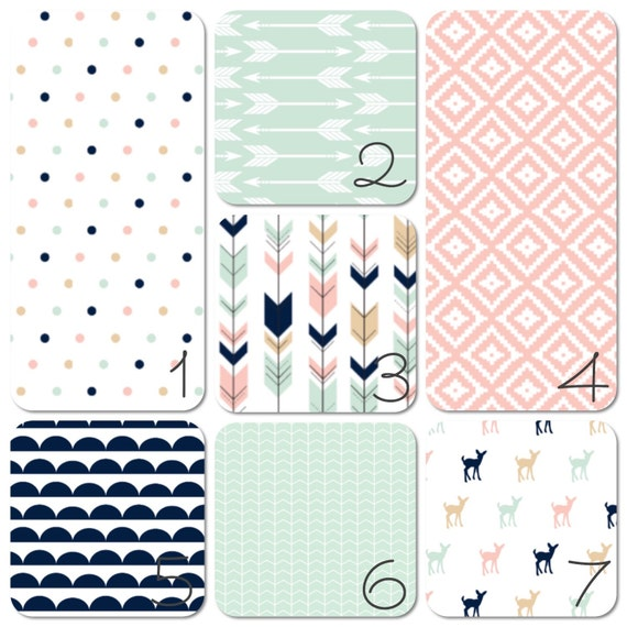 Nursery Bedding Set Pink Navy and Mint Arrows and Aztec