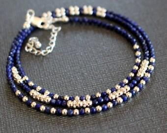 Lapis bracelet, gemstone wrap bracelet, boho chic beaded bracelet, dainty wrap bracelet, womens bracelet, gemstone stacking bracelet