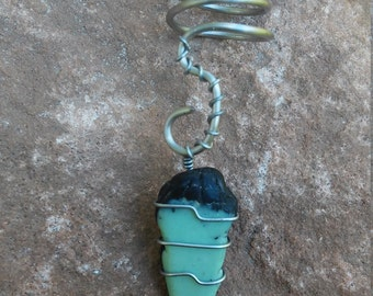 Turquoise dread bead coil (free shipping)