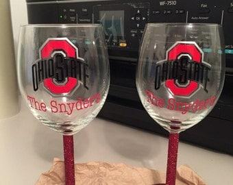 Glitter wine glass/personalized/college logo