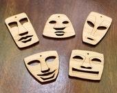 Set of 5 Tiki Head Beads : Bamboo