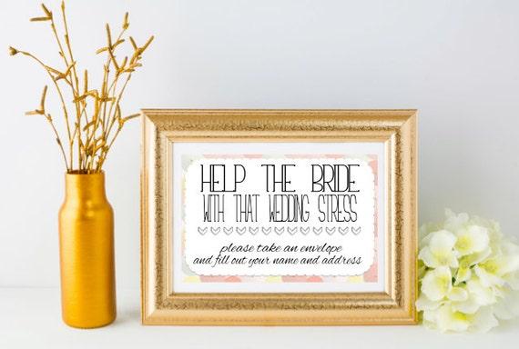 Bridal Shower Sign Instant Download Wedding Stress Fill