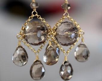 Smokey Topaz Chandelier Earrings // 14K Gold Filled