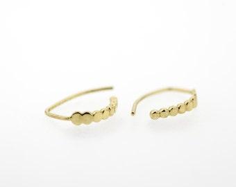 Gold Earrings, 14K Solid Gold Open Hoop Earrings, Elegant Earrings, Wedding Earrings, yellow-gold or rose-gold Hoop Earrings, Gift lover