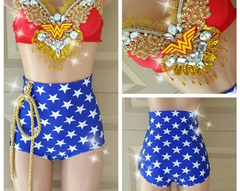 Wonder Woman Inspired Costume High Waist Bottom- Sexy Super Hero - Super Woman - Wonder Woman Cosplay - Sexy Cosplay - Comicon -