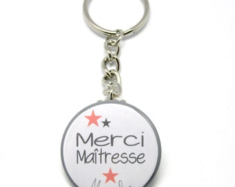 37mm key ring personalized thank you teacher coral