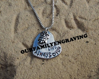 Owl always love you hand stamped pendant necklace