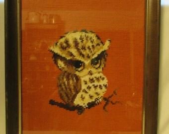 Needlepoint, Owl, Orange Background, Framed Under Glass, 1970's