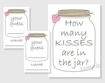 How many KISSES are in the jar? Printable Game - Rustic Mason Jar - Bridal Shower - Wedding Shower - pink hearts