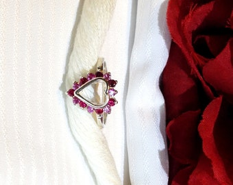 Lovely Heart Shaped Ruby and Sapphire Ring ~ 925 Sterling Silver ~ Size 6.5