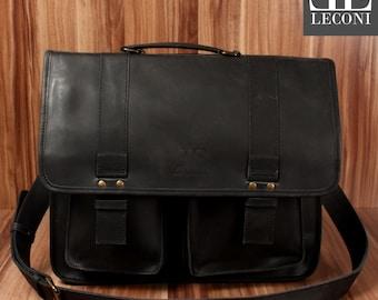 LECONI large Briefcase teacher business bag College Pocket Buffalo leather black LE3030